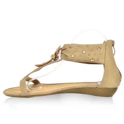 Damen Sandalen Zehentrenner - Khaki
