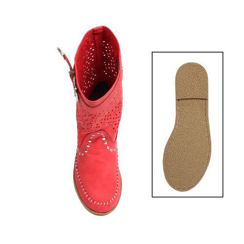 Damen Stiefeletten Schlupfstiefel - Rot