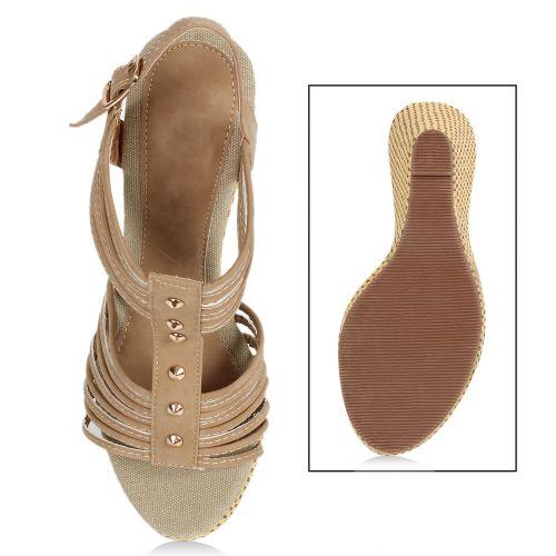 Damen Sandaletten High Heels - Khaki