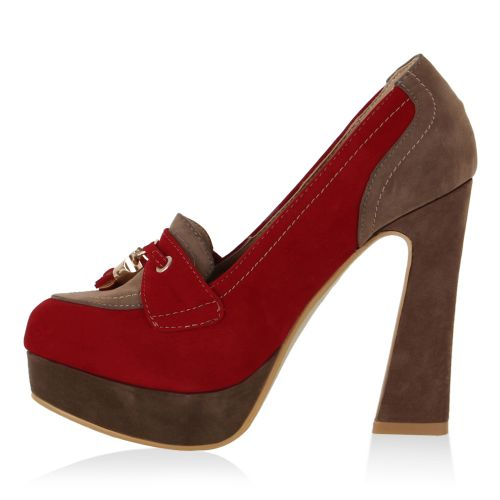 Damen Pumps Plateau Pumps - Rot Khaki