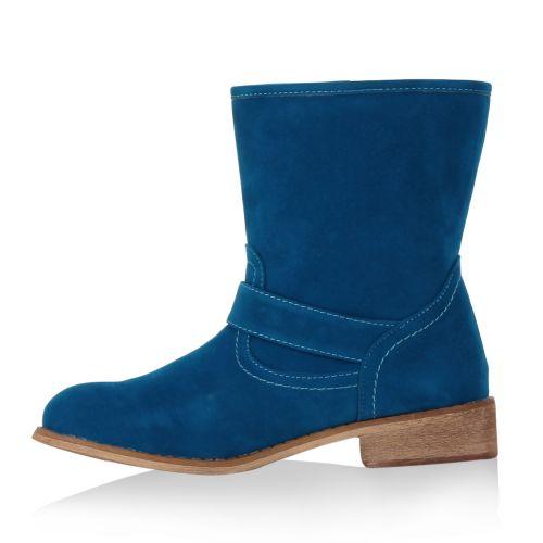 Damen Stiefeletten Biker Boots - Blau