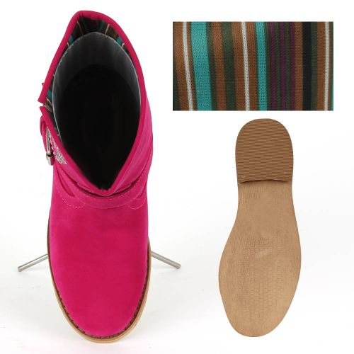Damen Stiefeletten Biker Boots - Fuchsia