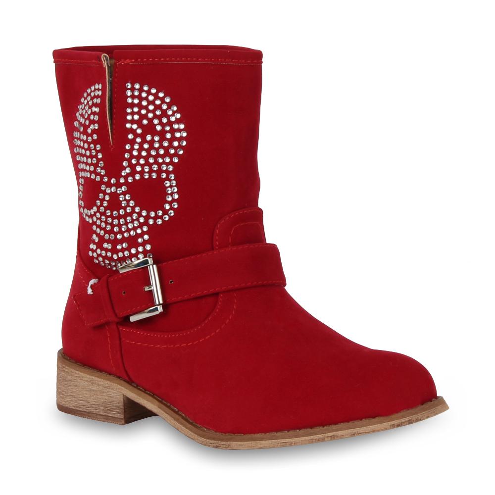 Damen Stiefeletten Biker Boots - Rot
