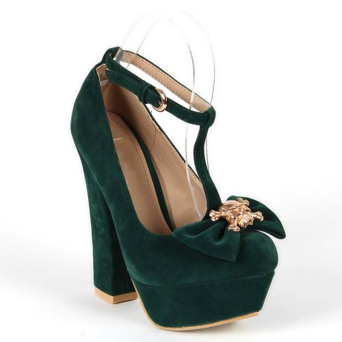Damen Pumps High Heels - Dunkelgrün