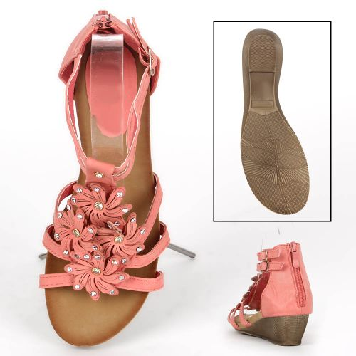 Damen Sandaletten Ankle Boots - Apricot