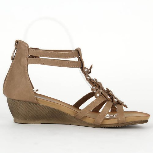 Damen Sandaletten Ankle Boots - Khaki
