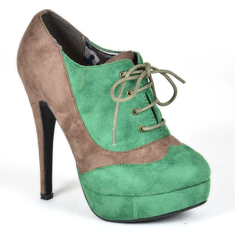 Damen Pumps Schnürpumps - Grün