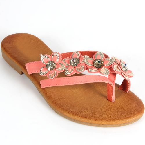 Damen Sandalen Zehentrenner - Apricot