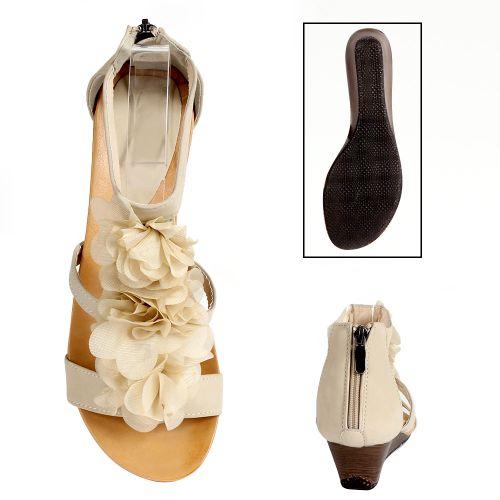 Damen Sandaletten Keilsandaletten - Beige