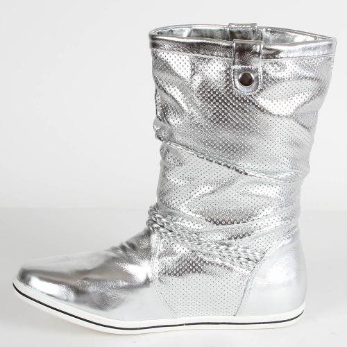 Damen Stiefeletten Schlupfstiefel - Silber
