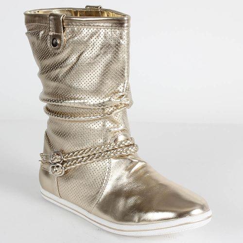 Damen Stiefeletten Schlupfstiefel - Gold