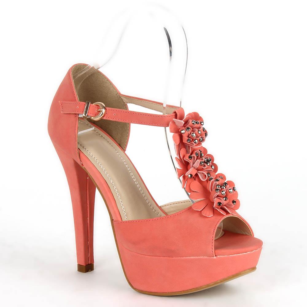Damen Sandaletten High Heels - Apricot