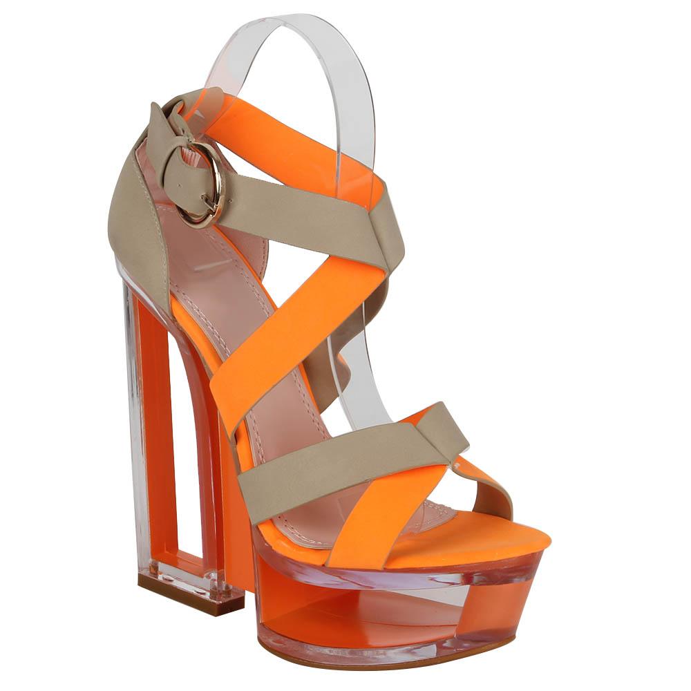 Damen Sandaletten High Heels - Orange