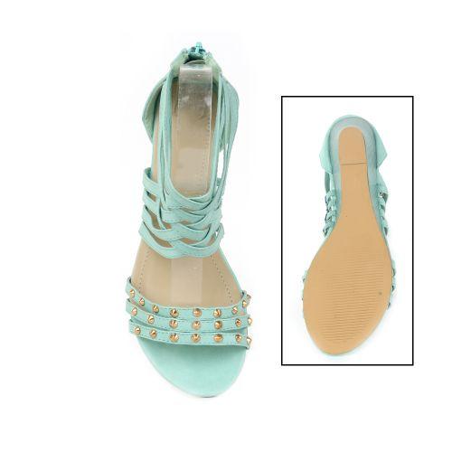 Damen Sandaletten Ankle Boots - Hellgrün