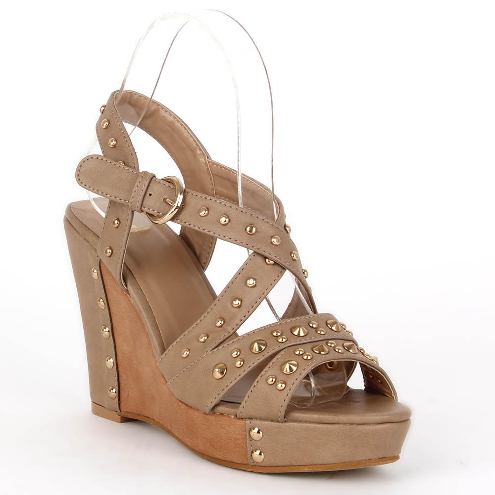 Damen Sandaletten Keilsandaletten - Khaki