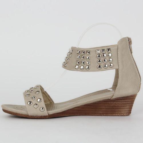 Damen Sandaletten Ankle Boots - Creme