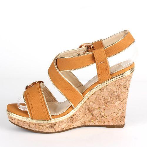 Damen Sandaletten Keilsandaletten - Hellbraun