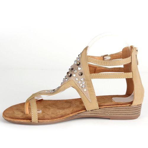 Damen Sandalen Zehentrenner - Beige