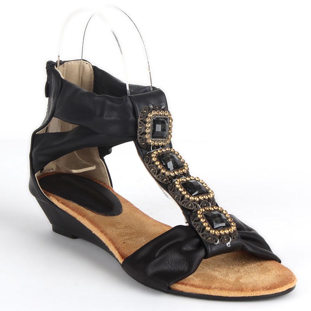 Damen Sandaletten Ankle Boots - Schwarz