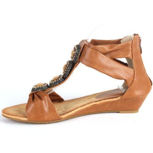 Damen Sandaletten Ankle Boots - Braun
