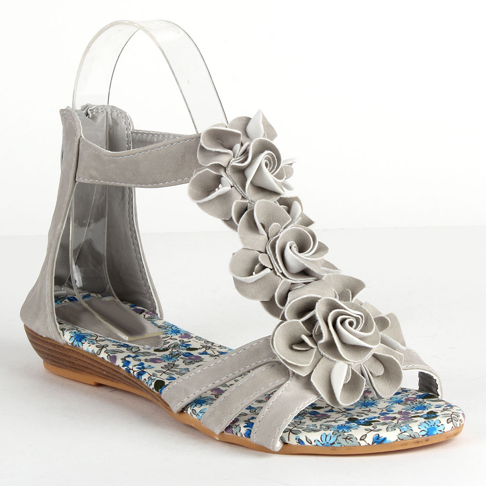 Damen Sandalen Ankle Boots - Hellgrau