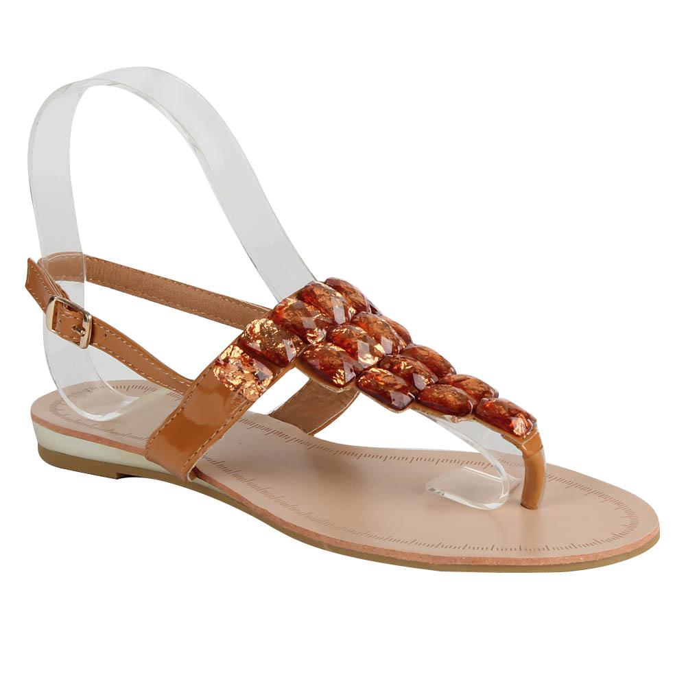 Damen Sandalen Zehentrenner - Tan