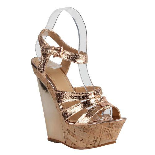 Damen Sandaletten High Heels - Bronze