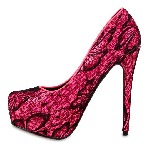 Damen Pumps High Heels - Schwarz Hellpink