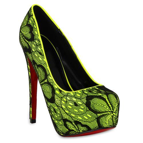 Damen Pumps High Heels - Schwarz Gelb