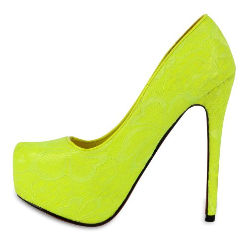 Damen Pumps High Heels - Gelb