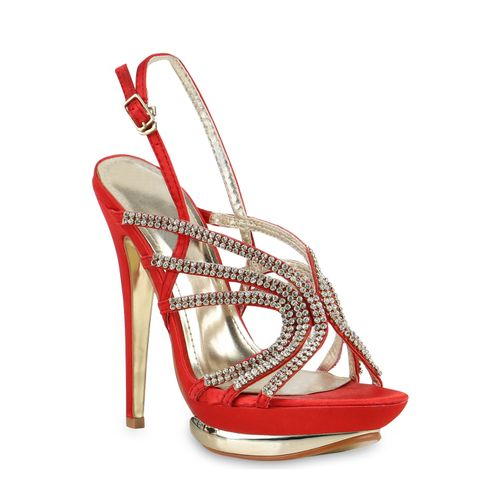Damen Sandaletten High Heels - Dunkelrot