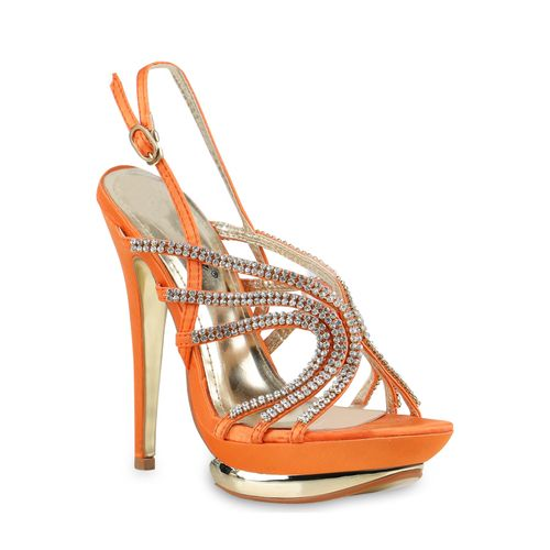 Damen Sandaletten High Heels - Orange