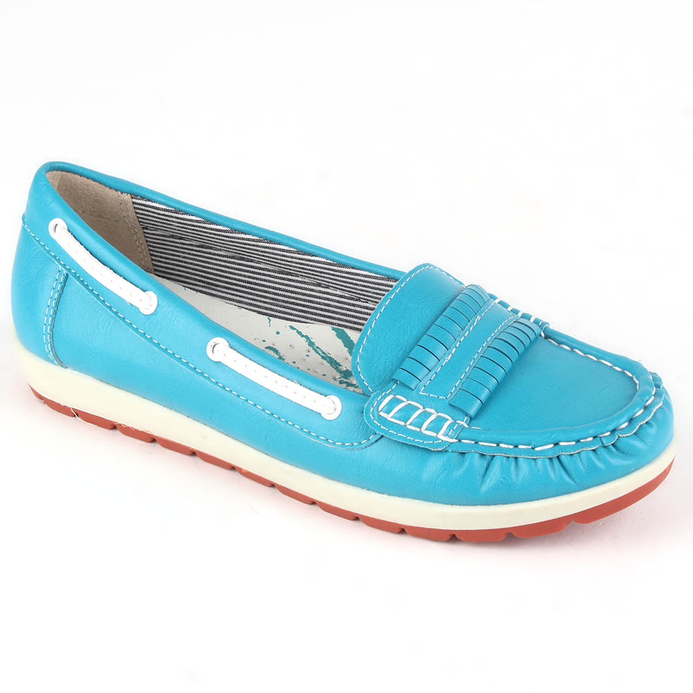 Damen Slippers Mokassins - Hellblau
