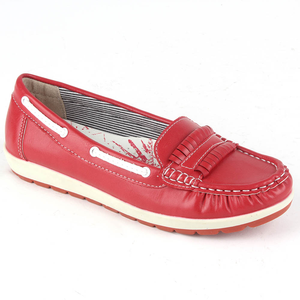 Damen Slippers Mokassins - Rot
