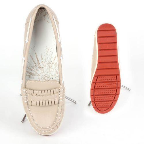 Damen Slippers Mokassins - Creme