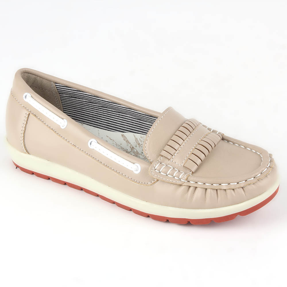 Damen Slippers Mokassins - Creme
