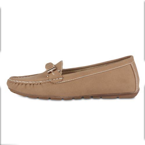 Damen Slippers Mokassins - Khaki