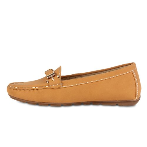 Damen Slippers Mokassins - Hellbraun