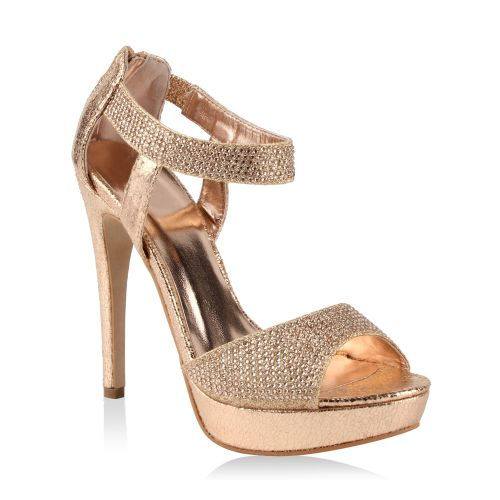 Damen Sandaletten High Heels - Bronze