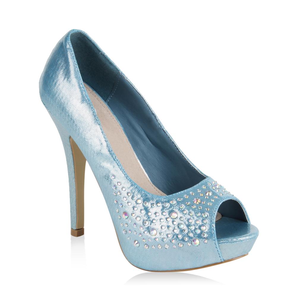 Damen Pumps High Heels - Hellblau