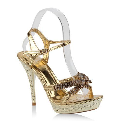 Damen Sandaletten High Heels - Gold