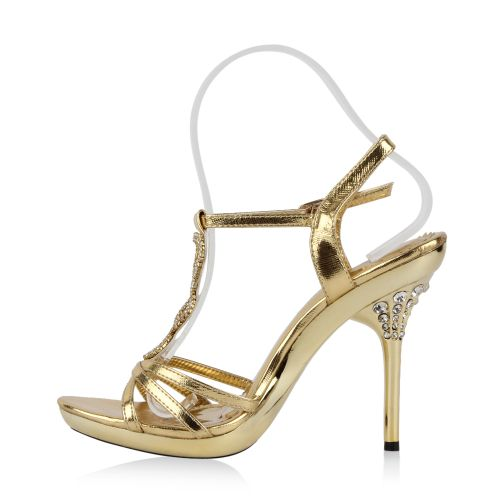 Damen Sandaletten High Heels - Gold