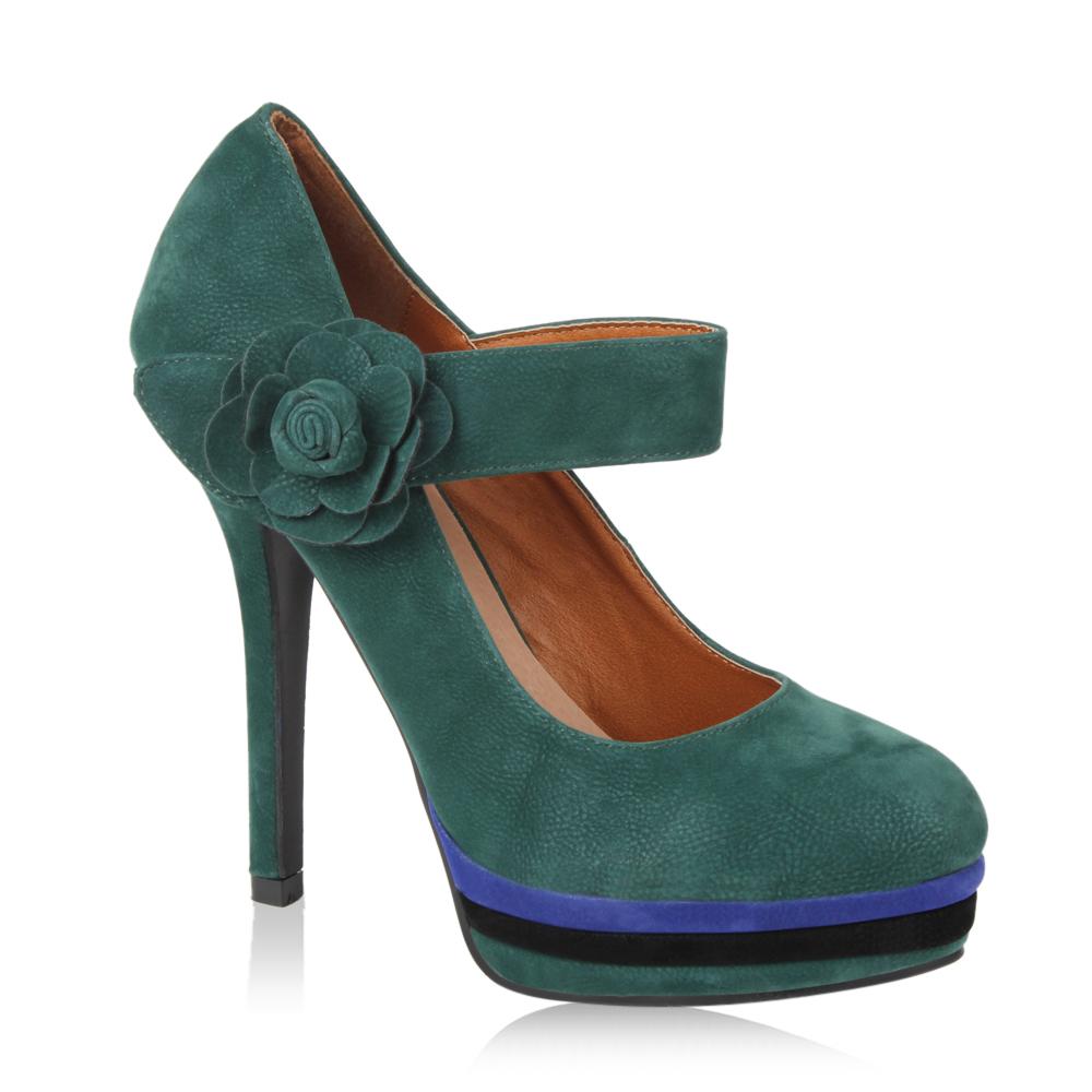 Damen Pumps High Heels - Dunkelgrün
