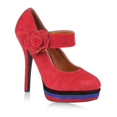 Damen Pumps High Heels - Dunkelrot