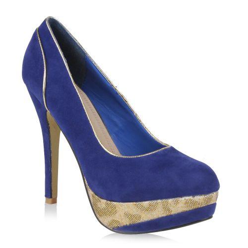 Damen Pumps High Heels - Dunkelblau