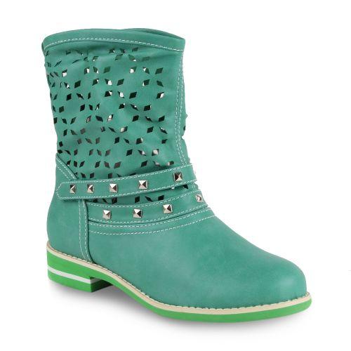 Damen Stiefeletten Biker Boots - Grün