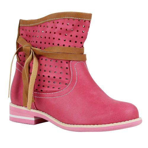 Damen Stiefeletten Biker Boots - Pink
