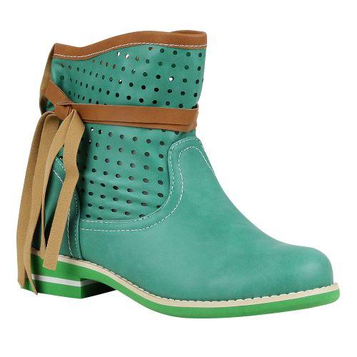 Damen Stiefeletten Biker Boots - Hellgrün
