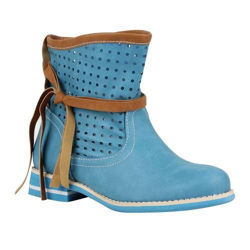 Damen Stiefeletten Biker Boots - Hellblau