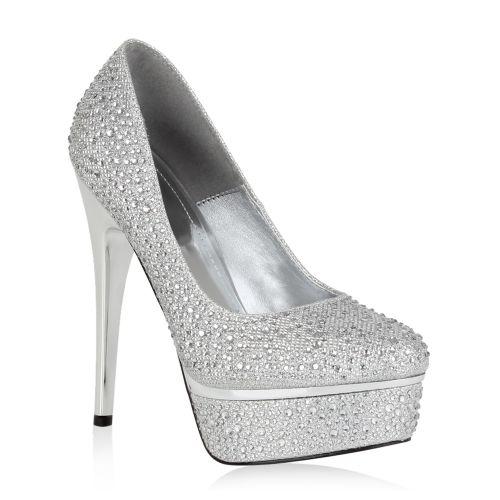 Damen Pumps High Heels - Silber